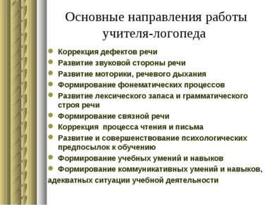 Основные направления работы учителя-логопеда Коррекция дефектов речи Развитие...