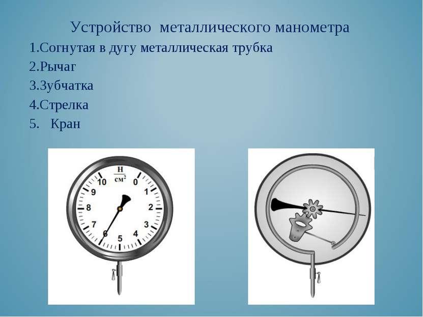 Устройство металлического манометра Согнутая в дугу металлическая трубка Рыча...