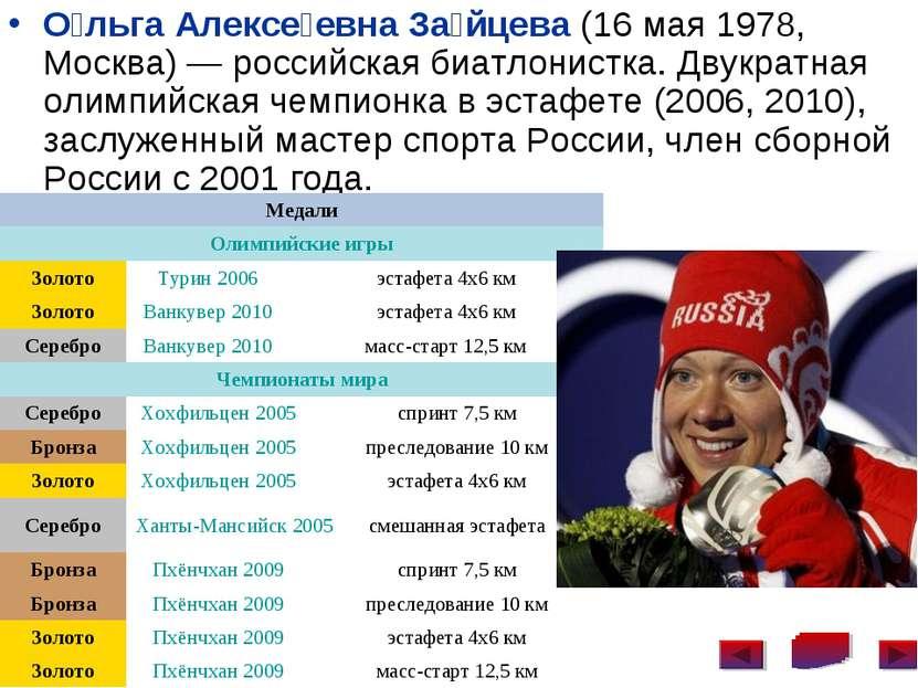 О льга Алексе евна За йцева (16 мая 1978, Москва)— российская биатлонистка. ...