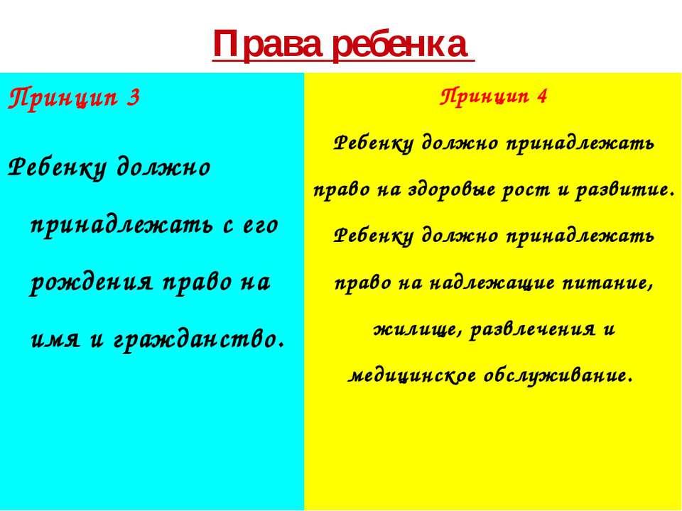 Права ребенка Принцип 3 Ребенку должно принадлежать с его рождения право на и...