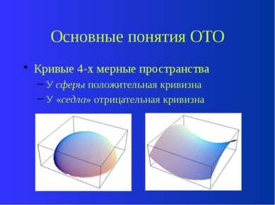 Основные понятия ОТО Кривые 4-х мерные пространства У сферы положительная кри...