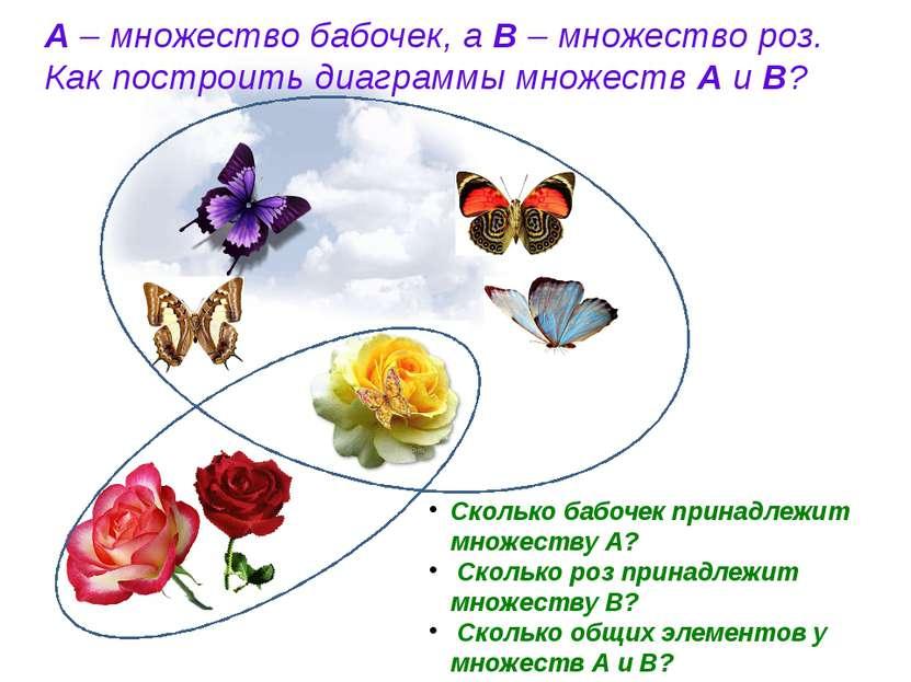 А – множество бабочек, а В – множество роз. Как построить диаграммы множеств ...
