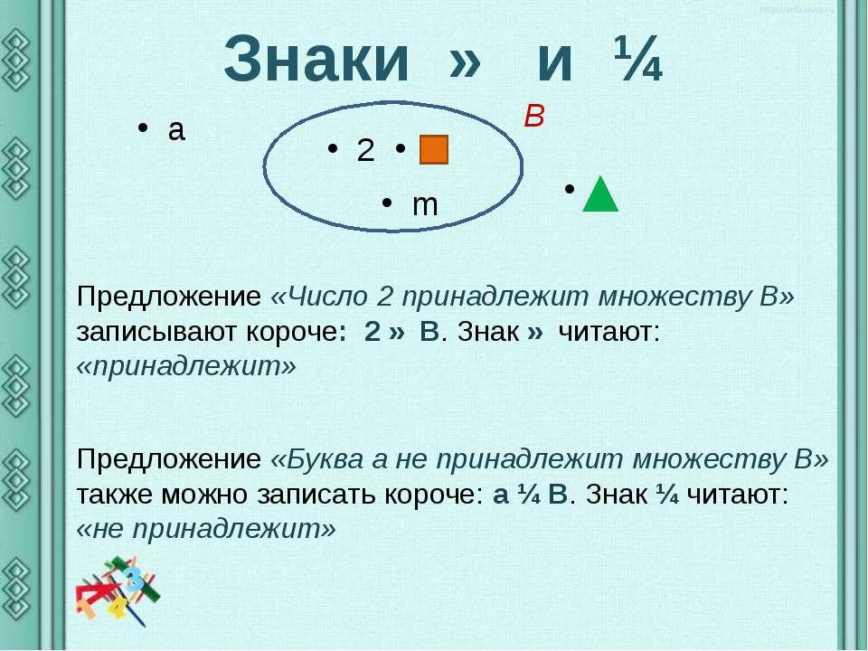 Знаки ∈ и ∉ a 2 m Предложение «Число 2 принадлежит множеству В» записывают ко...