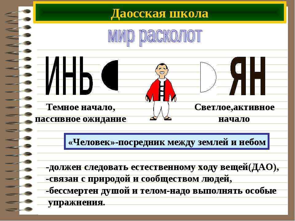 Даосская школа -должен следовать естественному ходу вещей(ДАО), -связан с при...