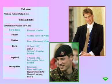 Full name William Arthur Philip Louis Titles and styles HRH Prince William of...
