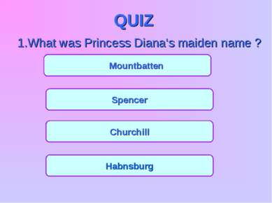 QUIZ 1.What was Princess Diana's maiden name ? Mountbatten Spencer Churchill ...