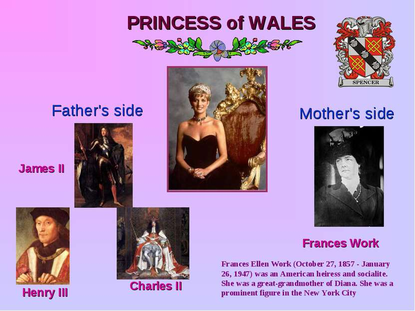 PRINCESS of WALES Father's side Mother's side Frances Work James II Henry III...