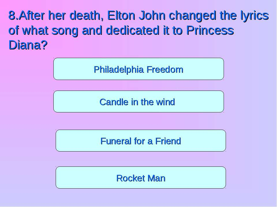 Funeral for a Friend Rocket Man Candle in the wind Philadelphia Freedom 8.Aft...