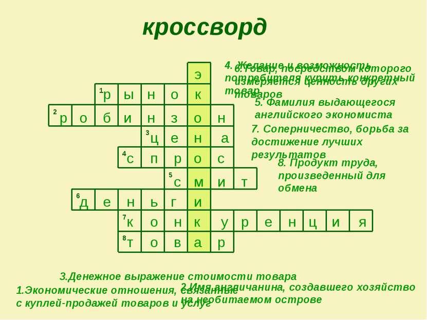 кроссворд 8 7 6 5 4 3 2 о н 1 1.Экономические отношения, связанные с куплей-п...