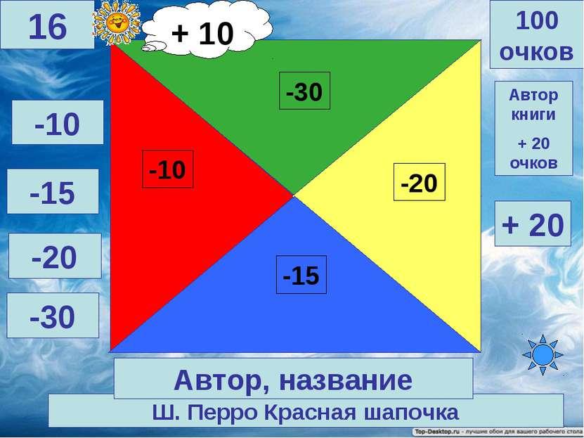 Ш. Перро Красная шапочка 100 очков 16 Автор, название Автор книги + 20 очков ...