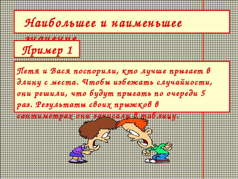 Наибольшее и наименьшее значение. Пример 1 Петя и Вася поспорили, кто лучше п...