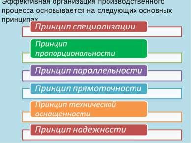 Эффективная организация производственного процесса основывается на следующих ...