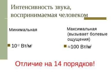 Интенсивность звука, воспринимаемая человеком Минимальная 10-12 Вт/м2 Максима...