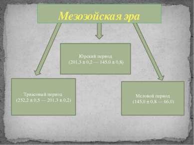 Триасовый период (252,2 ± 0,5— 201,3 ± 0,2) Юрский период (201,3 ± 0,2— 1...