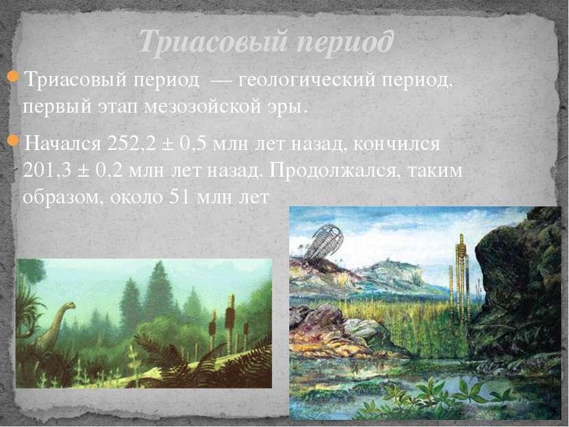 Триасовый период— геологический период, первый этапмезозойской эры. Началс...