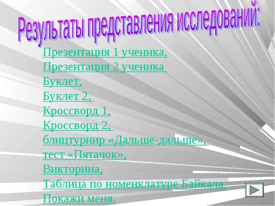 Презентация 1 ученика, Презентация 2 ученика Буклет, Буклет 2, Кроссворд 1, К...