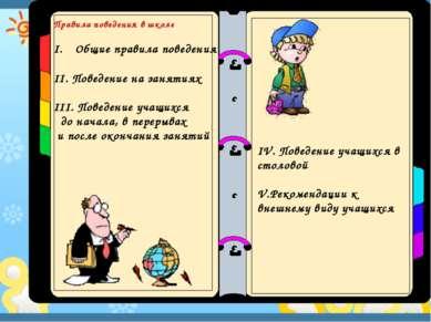 Правила поведения в школе Общие правила поведения II. Поведение на занятиях I...