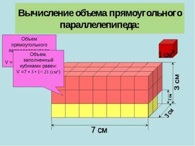 Вычисление объема прямоугольного параллелепипеда: Объем прямоугольного паралл...