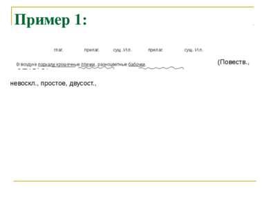 Пример 1: (Повеств., невоскл., простое, двусост., глаг. прилаг. сущ. И.п. при...