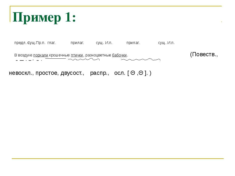 Пример 1: (Повеств., невоскл., простое, двусост., предл. сущ.Пр.п. глаг. прил...