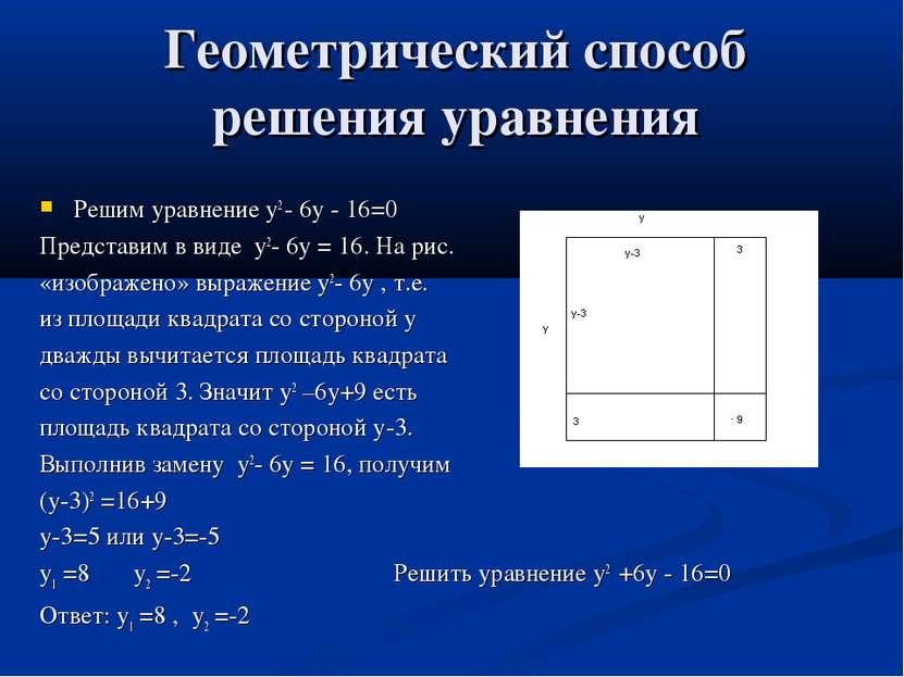Геометрический способ решения уравнения Решим уравнение у2 - 6у - 16=0 Предст...
