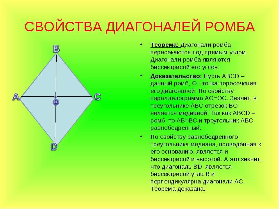 СВОЙСТВА ДИАГОНАЛЕЙ РОМБА Теорема: Диагонали ромба пересекаются под прямым уг...