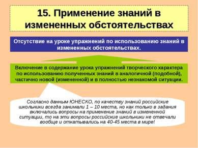 15. Применение знаний в измененных обстоятельствах Включение в содержание уро...