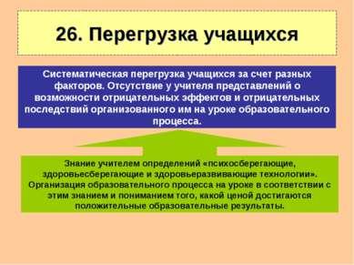 26. Перегрузка учащихся Знание учителем определений «психосберегающие, здоров...