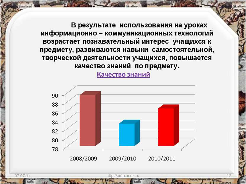 * http://aida.ucoz.ru * В результате использования на уроках информационно – ...