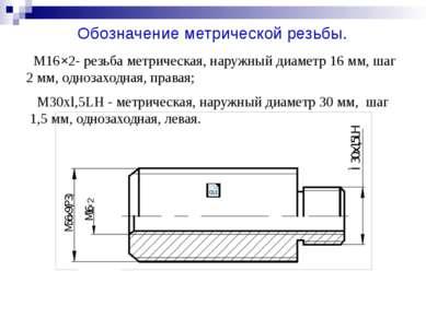 M16×2- резьба метрическая, наружный диаметр 16 мм, шаг 2 мм, однозаходная, пр...
