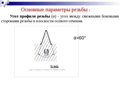 Основные параметры резьбы : Угол профиля резьбы (α) - угол между смежными бок...