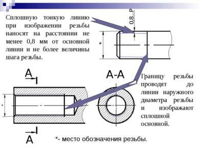 Сплошную тонкую линию при изображении резьбы наносят на расстоянии не менее 0...