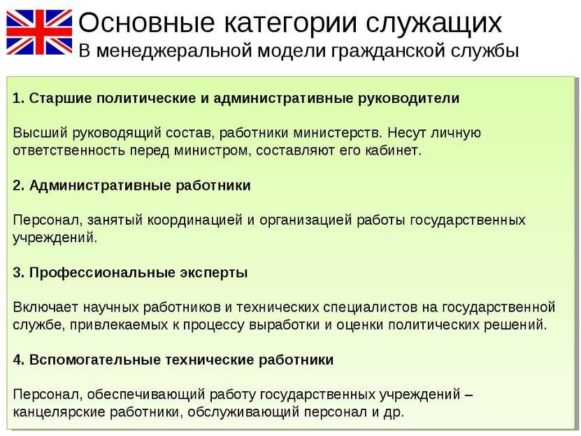 Основные категории служащих В менеджеральной модели гражданской службы 1. Ста...