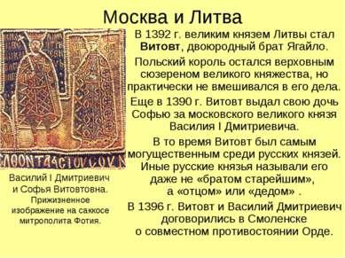 Москва и Литва В 1392 г. великим князем Литвы стал Витовт, двоюродный брат Яг...
