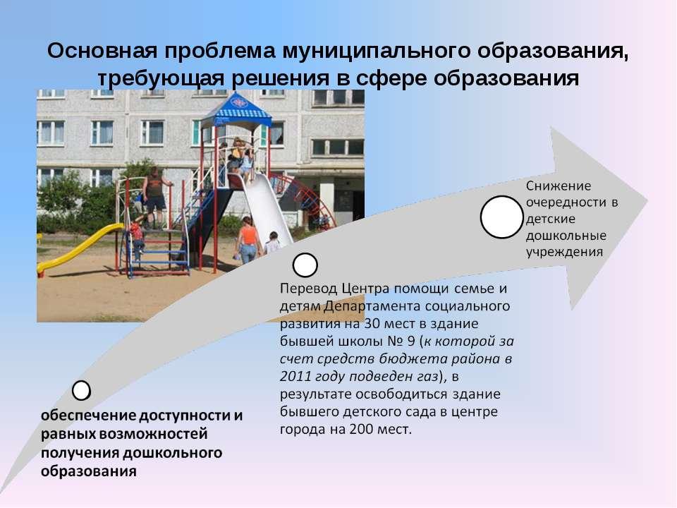 Основная проблема муниципального образования, требующая решения в сфере образ...