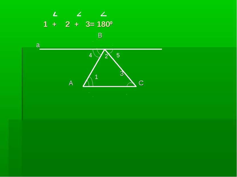 1 + 2 + 3= 1800 В а 3 А С 1 2 5 4