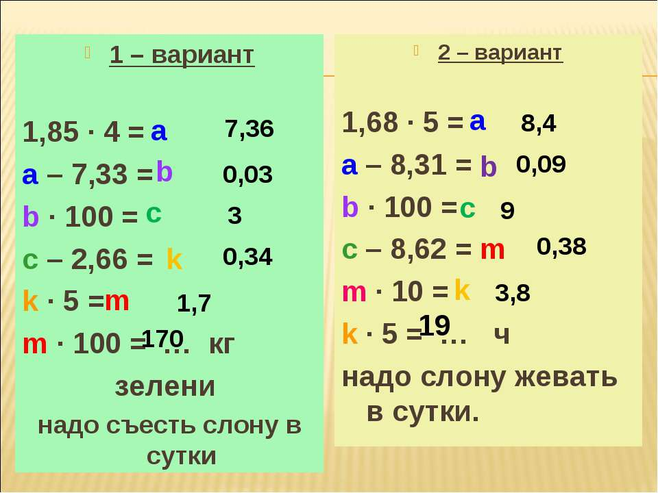 1 – вариант 1,85 ∙ 4 = a – 7,33 = b ∙ 100 = c – 2,66 = k ∙ 5 = m ∙ 100 = … кг...