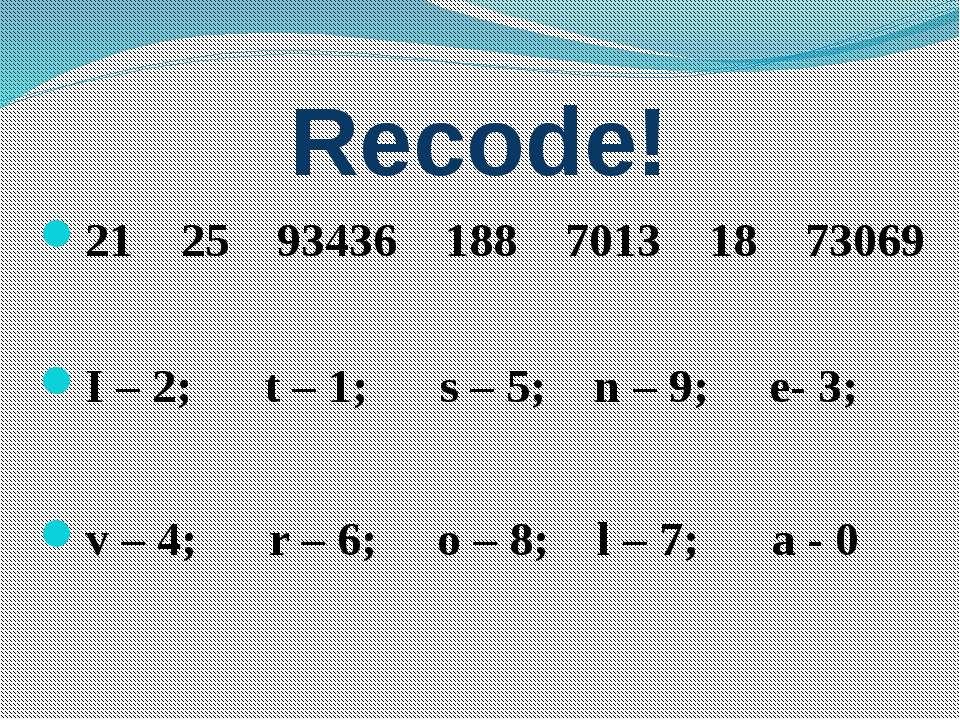Recode! 21 25 93436 188 7013 18 73069 I – 2; t – 1; s – 5; n – 9; e- 3; v – 4...