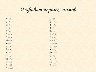 Алфавит черных гномов А – /\ Б – \- В – \-- Г – /- Д – /-\ Е – -_- Ё – -_-_ Ж...