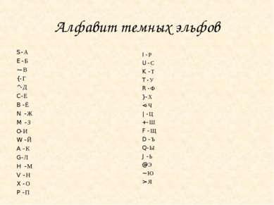 Алфавит темных эльфов