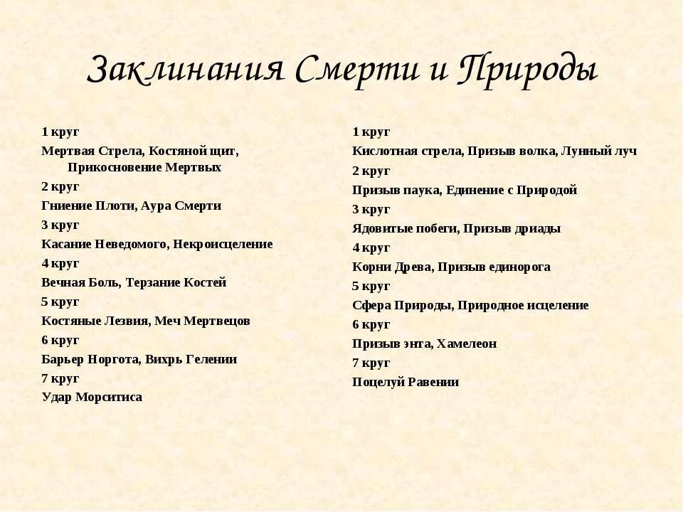 Заклинания Смерти и Природы 1 круг Мертвая Стрела, Костяной щит, Прикосновени...