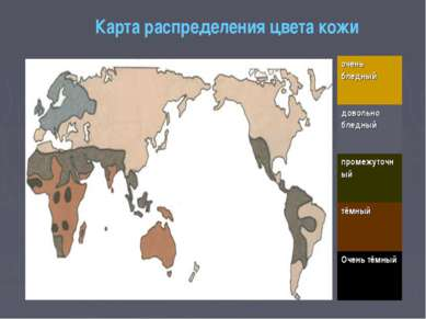 Карта распределения цвета кожи очень бледный довольно бледный промежуточный т...