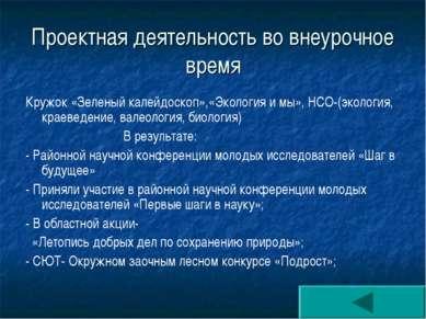 Проектная деятельность во внеурочное время Кружок «Зеленый калейдоскоп»,«Экол...