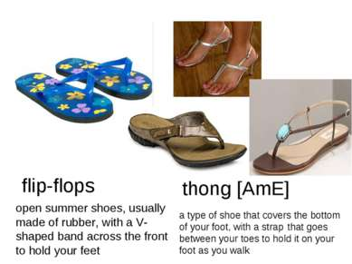 flip-flops open summer shoes, usually made of rubber, with a V-shaped band ac...