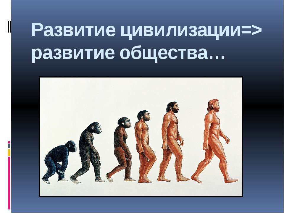 Развитие цивилизации=> развитие общества…