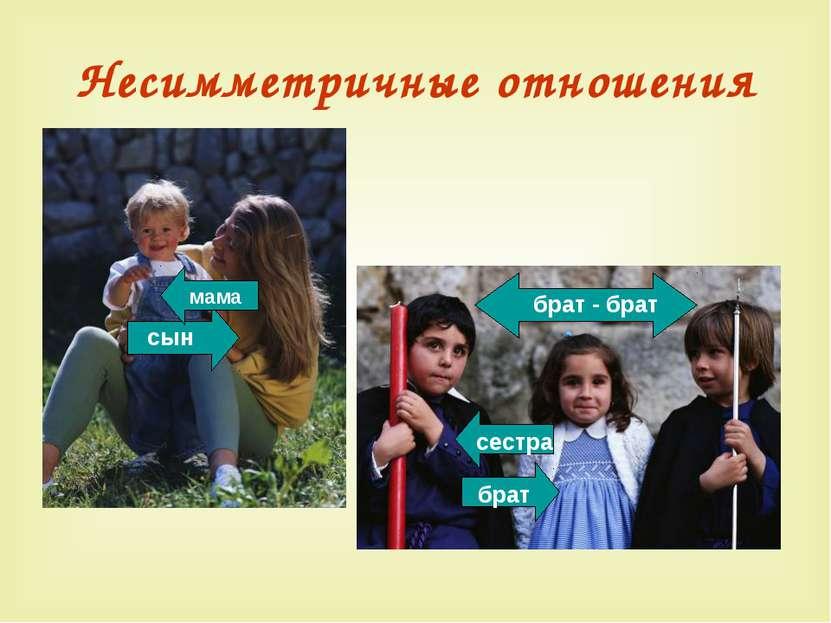 Несимметричные отношения брат - брат брат сестра сын мама