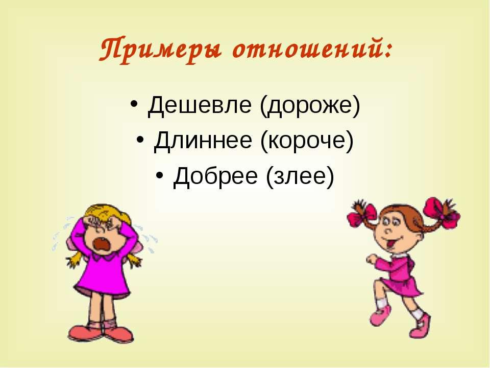 Примеры отношений: Дешевле (дороже) Длиннее (короче) Добрее (злее)