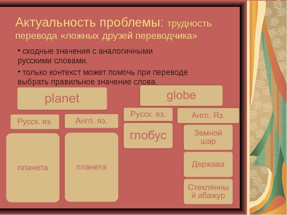 Актуальность проблемы: трудность перевода «ложных друзей переводчика» сходные...