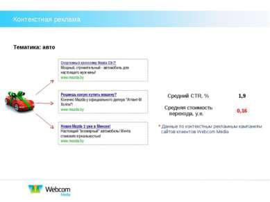 Тематика: авто * Данные по контекстным рекламным кампаниям сайтов клиентов We...