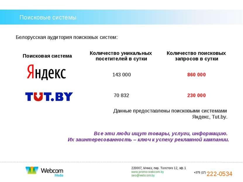 Поисковые системы Белорусская аудитория поисковых систем: Все эти люди ищут т...